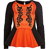 Orange oriental beaded peplum top