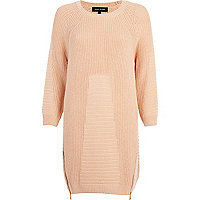 Light pink geometric pattern jumper dress