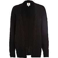 Black aran knit cardigan