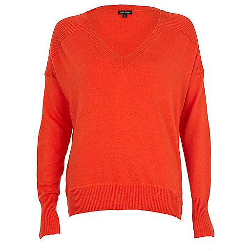 Red elbow patch oversized jumper