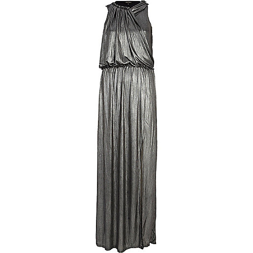 Silver draped sleeveless maxi dress