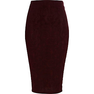 Purple paisley jacquard pencil skirt