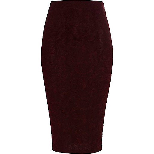 Purple paisley jacquard pencil skirt