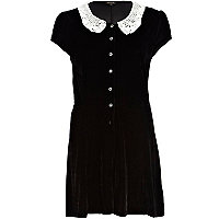 Black velvet lace collar playsuit