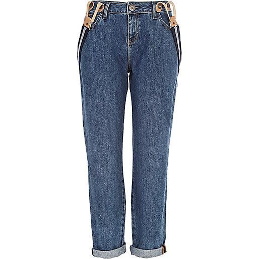 Mid wash brace boyfriend jeans