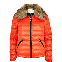 Red down feather padded jacket