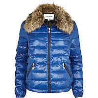 Blue down feather padded jacket