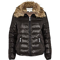 Black down feather padded jacket