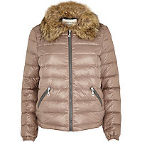Beige down feather padded jacket