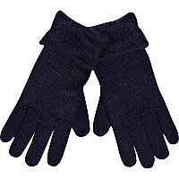 Navy cable knit cuff gloves