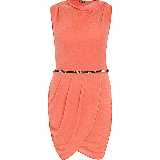 Coral lurex cowl neck belted dress