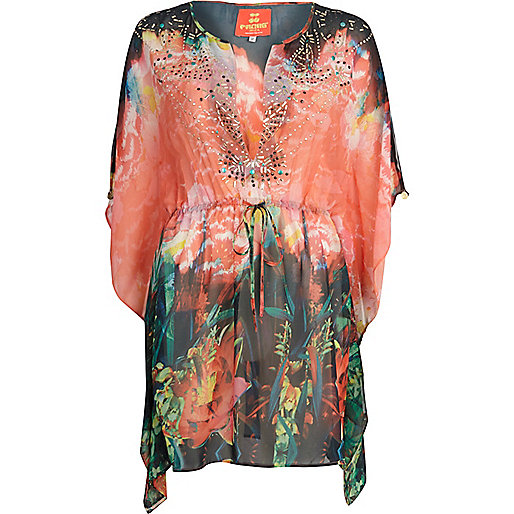 Red Pacha jungle print embellished kaftan