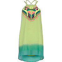 Green Pacha dip dye embroidered dress