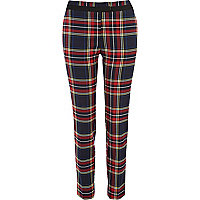 Red check smart trousers