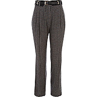 Brown check high waisted trousers