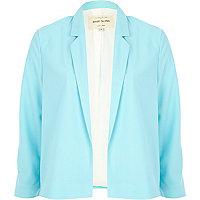 Blue unfastened cropped blazer