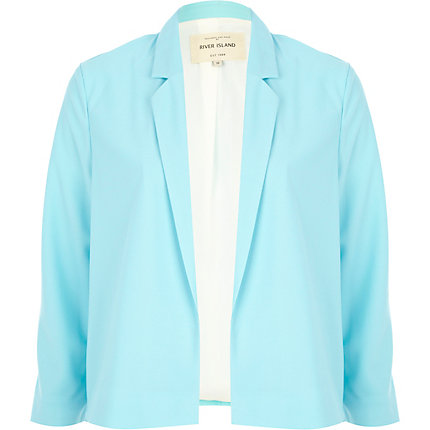 Blue unfastened cropped blazer
