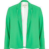 Green unfastened cropped blazer