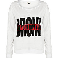 White Bronx New York dolman top