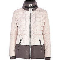 Beige colour block padded jacket