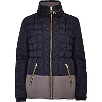 Navy colour block padded jacket
