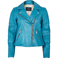 Bright blue leather biker jacket