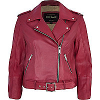 Pink belted hem leather biker jacket