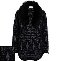 Black metallic faux fur collar cardigan
