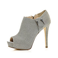 Silver metal trim peep toe shoe boots