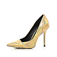 Gold toe cap pointed court shoes
