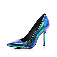 Blue iridescent toe cap pointed court shoes
