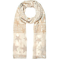 Light pink devore skinny scarf