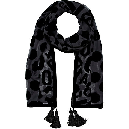 Black spot and number devore scarf