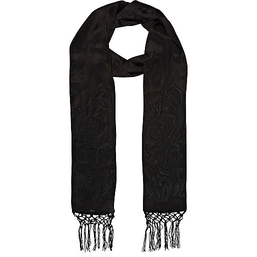 Black 3D embroidered skinny scarf