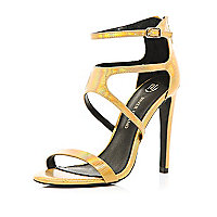 Gold holographic strappy sandals