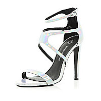 Silver holographic strappy sandals