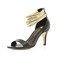 Black slinky multi chain strap sandals