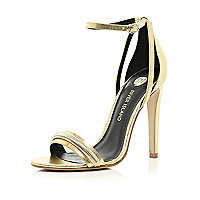 Gold slinky chain trim barely there sandals