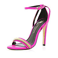 Pink slinky chain trim barely there sandals