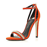 Orange slinky chain trim barely there sandals