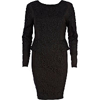 Black embroidered panel bodycon dress