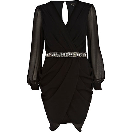Black sequin waist draped dress