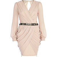Beige sequin waist draped dress