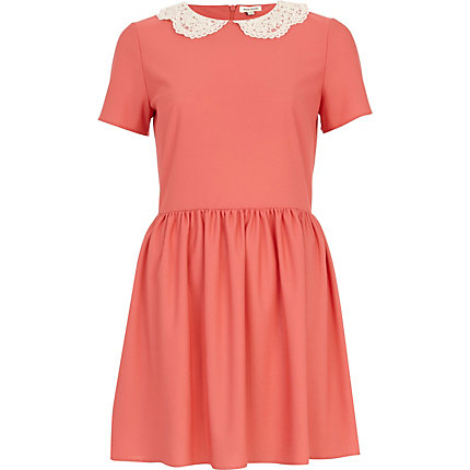 Coral lace collar tea dress