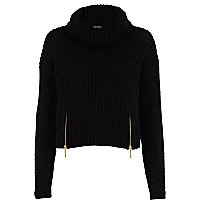 Black roll neck cropped jumper