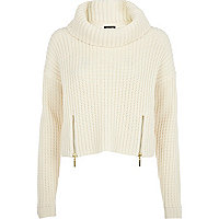 Cream roll neck cropped jumper