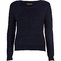 Navy metallic geometric rib jumper