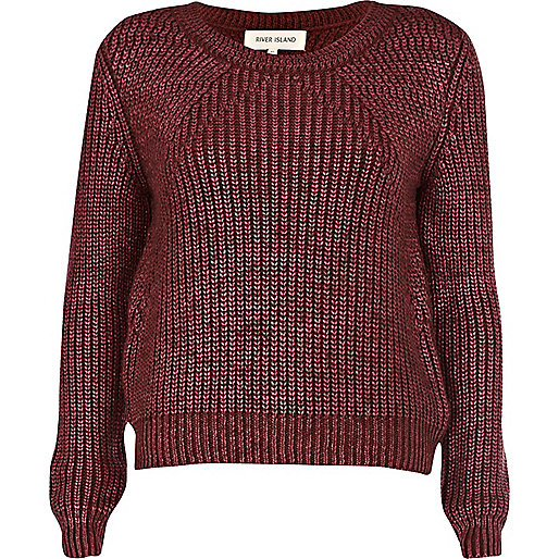 Burgundy metallic chunky knit jumper