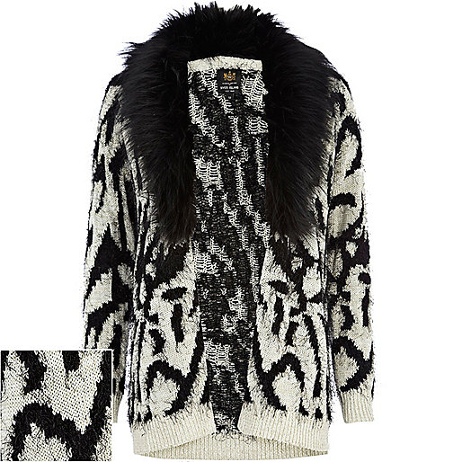Cream zebra print faux fur collar cardigan