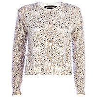 Cream animal print fluffy jumper